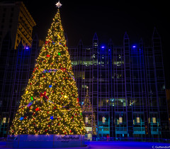 Holiday Tree at PPG Place and Ice Rink (charlie_guttendorf) Tags: guttendorf nikon nikon18200mm nikond7000 ppgplace pittsburgh pittsburghpa xmas christmas christmaslights christmastree festive happyholidays holidays ice icerink night nightphotography