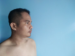 Today is my birthday, and I'm shirtless (siregarlandong) Tags: birthday december young blue portrait selfportrait phone naked shirtless skin