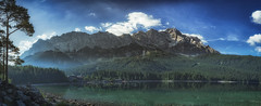 Throwback... (der_peste) Tags: panorama landscape bavaria garmischpartenkirchen eibsee lake moutains alps summer throwback sky water forests