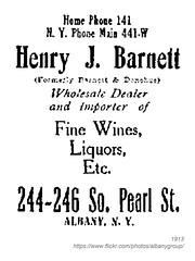 1913 henry barnett wines liquors (albany group archive) Tags: albany ny history business 1913 henry barnett wines liquors south pearl street 244246 early 1900s old vintage photos picture photo photograph historic historical