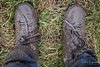 Muddy shoes (as a result of hiking in flooded grassland) (PaulHoo) Tags: fujifilm x70 2018 shoes mud muddy dirt dirty cleaning hiking trail grass timberland selfie
