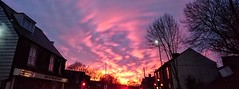 Red morning light (DavidSteele31) Tags: hillsborough sheffield kingsofleon sunrise redsky butterworthcycles buildings