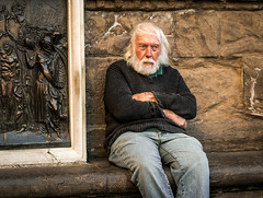 You are Old, Father William (damar47) Tags: pentaxart pentax k30 streetstyle stranger oldman streetcolor streetportrait portrait focused concentration contemplating candid streetphotography firenze florence italy italia colori colors