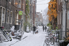 Soaking up the wintry atmosphere in the charming Jordaan of Amsterdam (B℮n) Tags: amsterdam snow covered bikes bycicles holland netherlands canals winter cold wester church jordaan street anne frank house dutch people scooter gezellig cafés snowy snowfall atmosphere colorful windows walk walking bike cozy boat light rembrandt corner water canal weather cool sunset file celcius mokum pakhuis grachtengordel unesco world heritage sled sleding slee seagull nowandthen meeuw seagulls meeuwen bycicle 1°c sun shadows sneeuw brug slippery glad flakes handheld wind nieuweleliestraat tweedeleliedwarsstraat café denieuwelelie heineken 50faves topf50