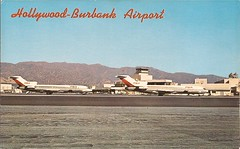 BUR05 (By Air, Land and Sea) Tags: airport postcard burbank bur california hollywoodburbankairport burbankairport aircraft airline psa pacificsouthwestairlines 727 boeing b727