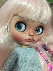 """For adoption.. listing at my etsy store. I change her hair scalp. Look cute too with this hair.. 😍😘.. """" Bambie """" my #47 custom doll .."""