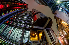 Really wide at the Lloyds building... (The all seeing i) Tags: wideangle samyang 8mm fisheye outdoors liverpool street london city cityscape flickr fujifilm winter 2017