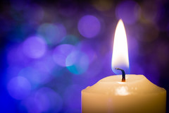 Candle Light (colbydaltonphotography) Tags: bokeh flame candle macro yellow teal purple
