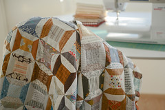 I'm happy! (balu51) Tags: patchwork sewing quilting quilttop wip spoolquilt scrappy scraps stashsewing longtimenosee ufo textprints strips dots blue grey brown cream white sewingmachine 60mm bokeh backlight dezember 2017 copyrightbybalu51