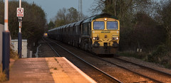 9Y0A7030 (kevaruka) Tags: class 66 freightliner gbrf 66506 66765 fiskerton station nottinghamshire twilight autumn 2014 november canon eos 5d mk3 70200 f28 is mk2 5d3 5diii sun sunshine sunny day sunset trains train coal flickr front page freight thephotographyblog ilobsterit england united kingdom great britain uk europe british rail network vehicle road outdoor locomotive railroad
