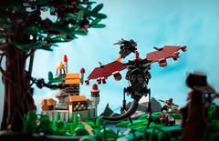Fire Dragon Siege (roΙΙi) Tags: castle micro dragon forcedperspective landscape catapult ballista fortress tree