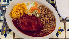 chile relleno stuffed with asadero cheese, with beans and rice (frodnesor) Tags: casachimayo santafe newmexico mexicanfood newmexicanfood