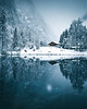 Reflection Perfection (noberson) Tags: blausee switzerland reflection nature cabin snow winter winterwonderland blue trees fog snowing calm serene