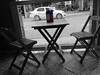 """""""... a place where I sit and try to forget the problems, watching the depressing view of a city moved by joy and tragedy."""" (Guilherme Alex) Tags: architecture chairs table bw cutout beatifull depression mycity mylife snackbar blue car street explorer amateur art"""