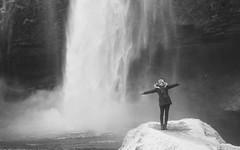 Seljalandsfoss waterfall (Jim Davies) Tags: iceland waterfall travel 35mm film analogue veebotique analog photography filmfilmforever 35mmfilm blackandwhitefilm europe february 2017 pentax espioafzoom compact zoom believeinfilm 100asa kodak tmax bw monochrome