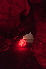 Orbe Cinis (Tom Whitfield) Tags: light painting night photography wire wool spinning orb ball beach seaside coast blackhall rocks colliery north east hartlepool northumberland teesside england uk cave caving pirates dark canon 5d mkii tom whitfield chris sparrow eli dog