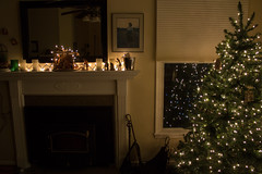 Mantle and Christmas Tree (marylea) Tags: christmas advent dec3 2017 livingroom lights christmastree mantle creche home