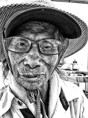 An Old Froend (leopc.lin) Tags: portrait bw patient hat elderly textures character personality grandma iphone close croping asia