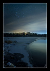 Orion the Hunter (Adam C Images) Tags: xt2 fuji fujinon 1655 f28 lens r lm wr mirrorless xtrans iii sensor night sky orion landscape long exposure median stack manual focus winter snow ice water stream river lake blue south frontenac township verona ontario canada