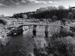 13th century Dartmoor footbridge (Tim Ravenscroft) Tags: bridge clapper river eastdart dartmoor ancient 13thcentury monochrome blackandwhite blackwhite england uk hasselblad hasselbladx1d x1d