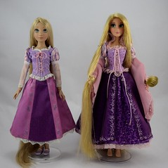Tonner vs Disney Store LE Rapunzel Dolls - Standing Side By Side - Full Front View (drj1828) Tags: tonner rapunzel 16inch doll limitededition le1000 purchase deboxed disneystore 2011 le5000 17inch sidebyside comparison review