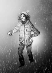 Blizzard (M4x G4x) Tags: draw dessin neige fille blackwhite lanterne bonnet doudoune blizzard hiver croquis brouillon
