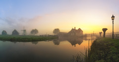 A windmill village - Zaanse Schans (Light Levels Photoworks) Tags: zaanse schans holland landscape ·landschaft travel village country europe europa world view dusk sunrise dust sonnenaufgang nikon d750 nikkor panorama reflexion spiegelung mirror fairy dreamy