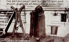 """Original Instruments Of Torture, The British Convict Ship """"Success"""" (SwellMap) Tags: postcard vintage retro pc 30s 40s 50s 60s thirties forties sixties fifties roadside midcentury atomicage nostalgia americana advertising coldwar artdeco linen design style architecture building"""