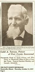 1927 Caleb A. Tatman, Monticello, IL Pioneer Dies (RLWisegarver) Tags: piatt county history monticello illinois usa il