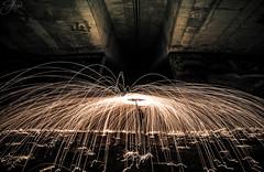 onemanarmy (Mystikopoulos) Tags: fire spark steelwool circle round overhead bridge underthebridge mystikopoulos killashot fun create