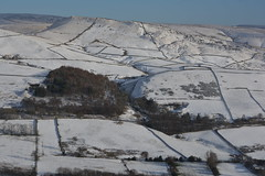 Snow on South Head, Peak District National Park, Derbyshire, England. (westport 1946) Tags: england unitedkingdom peakdistrict highpeak derbyshire nationalpark thenationaltrust chinleyhead southhead bluesky horizon winter snow cold hillside hill hills foothill fields field farmland farm moorland stonewalls trees landscape winterscape countryside outdoor rural idyllic serene peaceful tranquil road