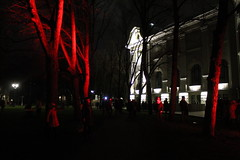 Around lighted people (Ievinya) Tags: people cilvēki lights gaismas trees koki building ēka māja house artmuseum mākslasmuzejs red white balts sarkans darknesss tumsa evening vakars november novemris rīga riga