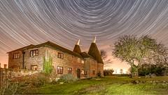 Oast House Star Trail (Nathan J Hammonds) Tags: oast house kent uk architecture star tripod tree trail grass gnight cold winter sky stars irex 15mm prime nikon d750 f24