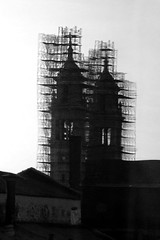 Church with Scaffolding (btusdin) Tags: 7daysofshooting week24 anythinggoes blackandwhitewednesday