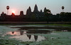 Spectacular every night (Dylan H, from the road) Tags: asia cambodia angkorthom angkorwat archaeology ruins sunset reflection towers palmtrees pond water