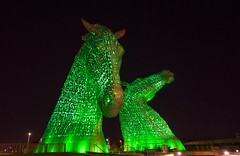 The Caledonia Kelpies (ijpears) Tags: red colours art horses scotland canals helix waterway installation monument illuminayed