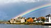The pot o' gold's in the castle, don'cha know. :) (DJL329) Tags: canon 5dmarkiv ef85mmf18 rainbow castle rivershannon limerickireland kingjohnscastle