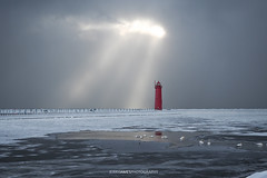 Muskegon, Michigan (Jerry James.) Tags: lighthouse lighthouses beach lake lakemichigan snow ic ice winter water sky red lightrays clouds olympus get getolympus em5markii michigan muskegon jerryjames jerryjamesphotography skeetownjay landscape landscapephotography