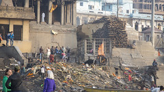 Cremation ghat (Tim Brown's Pictures) Tags: india varanasi benares ganges river gangesriver religion hindu hinduism pilgrims travel color people boats uttarpradesh