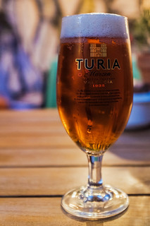 Glass of Turia (Valencia Beer) Cordaletts Cafe-Bar Valencia (High ISO) (Fujifilm X100F 23mm f2 Compact) (1 of 1)