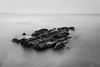 Lonely (ffmanu) Tags: seascape landscape black white noir et blanc paysage nature marin sea mer ocean bw nb rocher caillou cailloux beautiful canon pause long exposition exposure 1855 nd1000