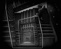 dont look down (ThorstenKoch) Tags: street streetphotography stadt strasse schatten shadow silhouette schwarzweiss stairs treppen treppenhaus blackwhite monochrome bnw man pov photography people photographer picture pattern düsseldorf duesseldorf germany fuji fujifilm xt10 thorstenkoch detective dark krimi