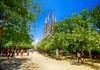 Walking to Sagrada Família in Barcelona, Spain (` Toshio ') Tags: toshio basílicaitempleexpiatoridelasagradafamília sagradafamilia basilica barcelona spain spanish park guadi architecture path europe european europeanunion trees church catholic fujixe2 xe2