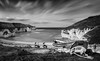 . . . north landing with ghosts (orangecapri) Tags: orangecapri longexposure sea seascape clouds movement bw black white blackandwhite flamborough blur boats ghosts cliffs northlanding filters lee nd coast fishingboat figures