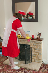 Red Overall & Long Check Tabard 2 02 (JanetClarke_UK) Tags: tabard sissy charwoman domestic housekeeper housewife rubbergloves sissymaid cleaning skivvy cleaner crossdressing putzfrau maid dusting char housekeeping overall housework tranny chores crossdresser housemaid chambermaid scrubber marigolds