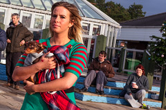 Woman Carrying a Small Dog (stevedexteruk) Tags: dog fancydress costume christmas swim christmasswim christmasday hitide hightide pub porthcawl wales uk seaside coney