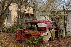 Abandoned Car in Front of Garage (tarmo888) Tags: sel50f18 sonyalpha sonyα nex7 geotaggedphoto geosetter sooc photoimage фотоfoto year2017 special gpscalculator ukraine україна ukrayina украи́на украина chernobyl chornobyl чорнобиль чернобыль czarnobyl tšornobõl tšernobõl urbanexploration urbex ruinporn чкалівка kyivska