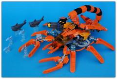 LEGO Abiss . (peter-ray) Tags: abiss aragosta mecha robot submarine lego mini figure fish shark moc brick peter ray sea blu mobile armore suite samsung nx2000