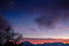 the sky and the moon and the mountains (felipeepu) Tags: nature elements earth sun sky clouds fog trees colorful mountains firmament stars moon snow