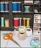 118-50 (Lovetostitch) Tags: 50of118 118for2018 haberdashery stitching reels bobbins scissors threads pincushion pins needles